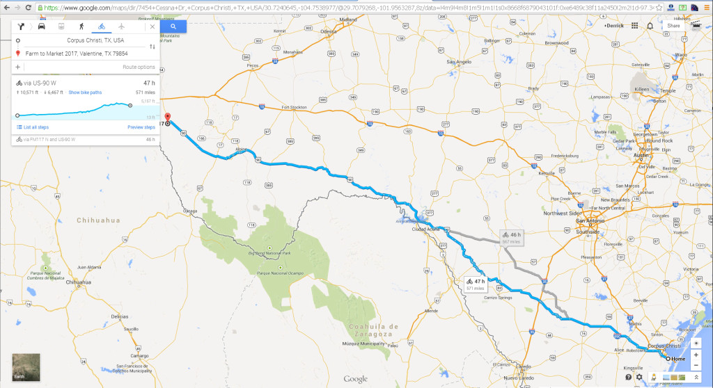 Bike roadmap from Corpus Christi to Valentine Texas
