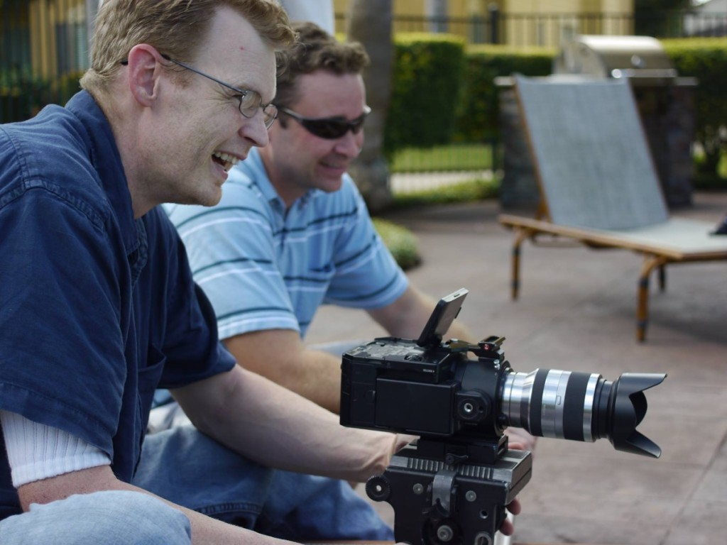 Derrick Perrin and Jeff Durrwachter on the set of a video production.