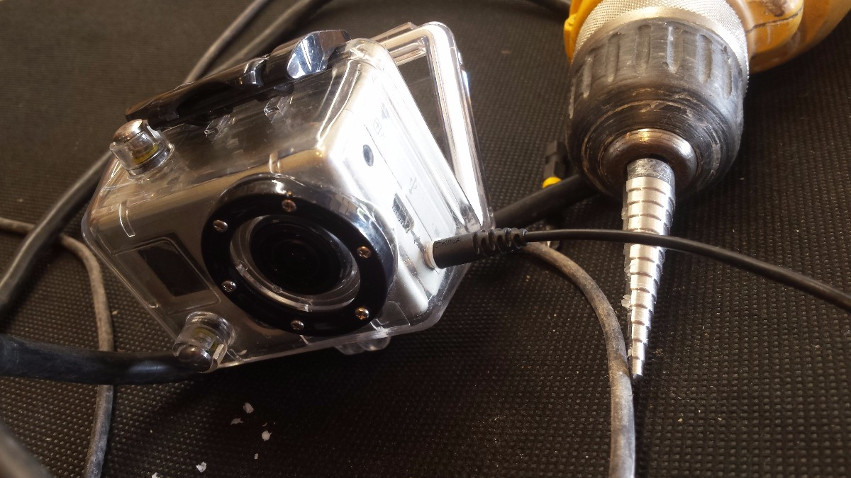 GoPro with a custom external mic adapter