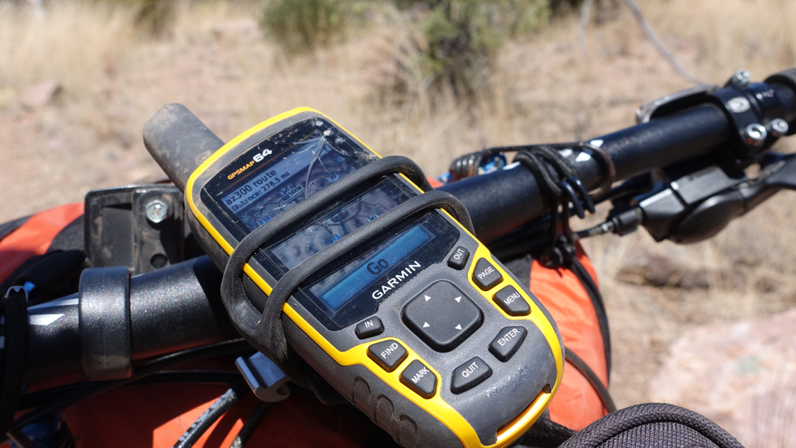 Garmin GPS on a mountain bike