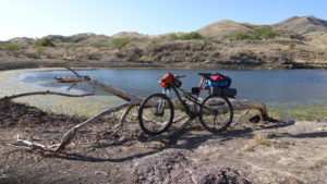Mountain bike loaded with gear